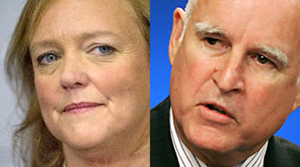 Gubernatorial candidates Meg Whitman and Jerry Brown